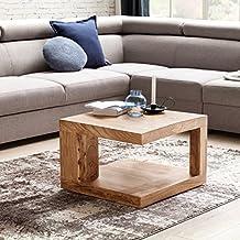WOHNLING Couchtisch Aus Massivholz Akazie Beistelltisch | Wohnzimmertisch  58 Cm Im Landhaus Stil | Design