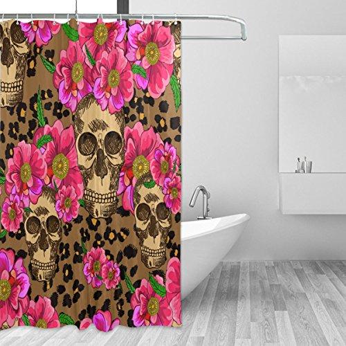 Cortinas de ducha impermeable moho a prueba de molde resistente al azúcar calavera leopardo rosa Floral Impreso lavable cortina de baño de poliéster con resistente ganchos para baño decoración del hogar accesorios 66x 72inch