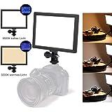 LED Videoleuchte Dimmbar,Switti Kamera Videoleuchte mit LCD Display,16W Videolicht mit Blitzschuh,3200K-5600K Bi-Color Kameralicht,Fotolicht (Batterie und Netzteil Nicht enthalten)-MEHRWEG