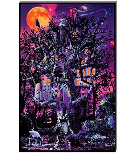 opticz Treehouse Blacklight Reactive Poster - Blacklight Poster