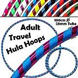 Pro HULA HOOP Reifen für Anfänger und Profis (10 Farben Ultra-Grip/Glitter Deco) Faltbarer TRAVEL Hula Hoop ideal für Hoop Dance! - Größe 100cm, Gewicht 650g (Blau / Lila Glitter 100cm/25mm)