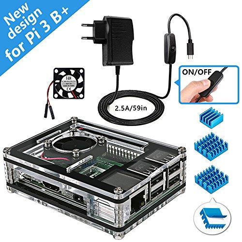 Miuzei Raspberry Pi 3B+ Gehäuse mit Lüfterkühlung, 3 × Aluminium Kühlkörper, 5V 2.5A Netzteil, USB Kabel mit Ein/aus Schalter Kompatibel mit Raspberry Pi Modell 3b+, 3b, 2b