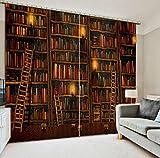 Wapel Benutzerdefinierte 3D Cortinas Retro Bücherregale 3D Wohnzimmer Vorhänge 3D Fenster Vorhänge Küche Tür Vorhänge Wohnzimmer H245 * W280cm