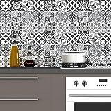 60 Stickers adhésifs carrelages   Sticker Autocollant Carrelage - Mosaïque carrelage mural salle de bain et cuisine   Carrelage adhésif - nuance de gris élégants  - 10 x 10 cm - 60 pièces