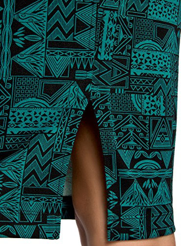 oodji Ultra Damen Jersey-Kleid mit Dünnen Trägern Grün (296DG)