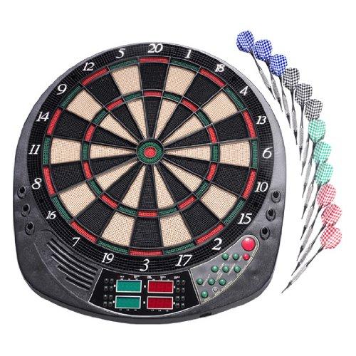 Elektronische Dartscheibe Dart Komplettset 159 Spiele 4 LED-Displays Sound 12 Pfeile (11 Gramm) Pfeilhalter 1-16 Spieler Montage Zubehör Teams Cybermatch 100 Spitzen Dartspiel Darts Dartautomat