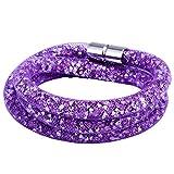 Morella Damen Strass Glitzer Wickelarmband oder Halskette mit Magnetverschluss lila weiß