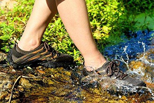 Z&HX sportsScarpe alpinismo estivo scarpe casual uomo scarpe da ginnastica anfibia traspirante scarpe da arrampicata in pelle Khaki