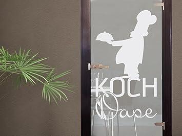 Schön Glasdekor Glastür Aufkleber Fensterfolie Für Küche Spruch Kochoase Koch  (102x57cm)