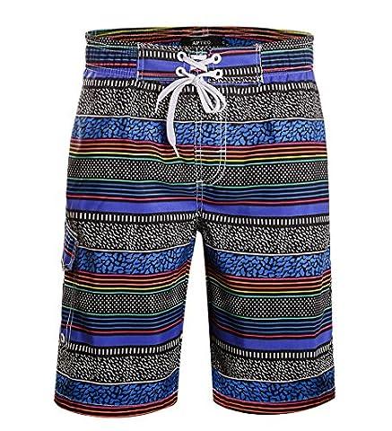 APTRO Men's Swim Trunks Stripes Fashion Surf Board Shorts Blue 1702 29-30W