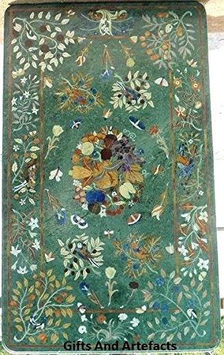 182,9x 91,4cm Rechteck grün marmor Konferenz Tisch Top Inlay Blumen Design