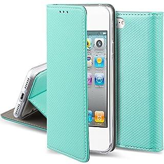 Moozy Hülle Flip Case für iPhone 5s / iPhone SE, Minzgrün - Dünne magnetische Klapphülle Handyhülle mit Standfunktion