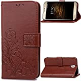 UMI Rom X/Umi Rom Case Leather, Ecoway Clover embossed Patterned PU Leather Stand Function Protective Cases Covers with Card Slot Holder Wallet Book Design Folio Magnetic Flip Stand Feature for UMI Rom X/Umi Rom - Four Leaf Clover(Coffee brown)