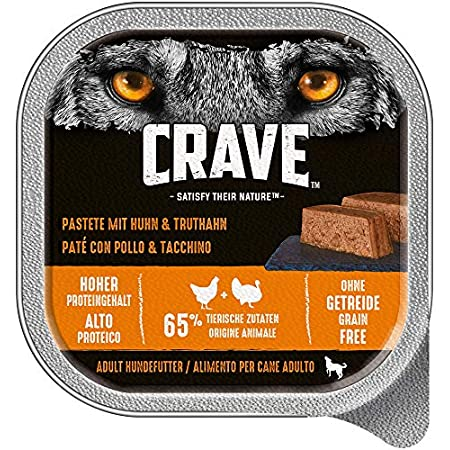CRAVE Premium Pastete mit Truthahn für Hunde – Getreidefreies Adult Nassfutter mit hohem Proteingehalt – 10 x 300 g