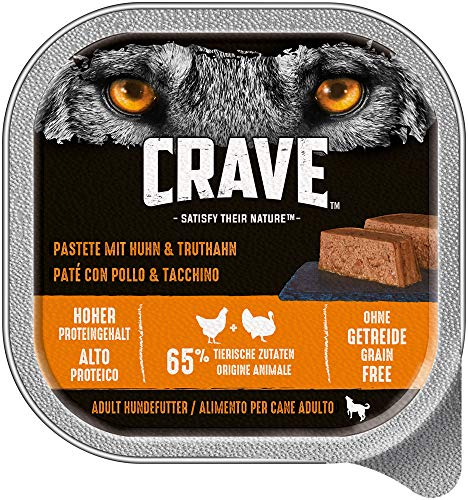 CRAVE Premium Pastete für Hunde - Getreidefreies Adult Nassfutter in der Schale