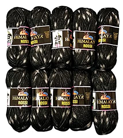 10 x 50 Gramm Strickwolle schwarz grau Nr. 81211, 500 Gramm Wolle zweifarbig zum Stricken