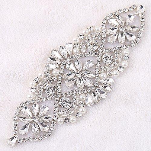 14,5x 5,1cm popullar Design Nähen auf Blume Diamant Strass Klaren Strass Applikation Pure Glass für Brautschmuck Haarband Band Gürtel Handtasche Schuhe Clear silver (Kristall-braut-handtasche)