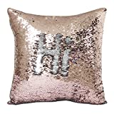 "Janecrafts Two-color Decorative Mermaid Pillow Reversible Sequins Pillow Cases Cushion Cover 16 X 16""(40x40cm) Champagne and Silver"