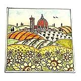 CERAMICHE D'ARTE PARRINI- cerámica artística italiana , girasoles azulejo paisaje de la decoración, fabricado en Italia Toscana