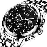 Herrenuhr, Silber Edelstahl Uhr, Luxus Design Kalender Quarz Analog Uhr, Business Herrenuhr(Schwarz)