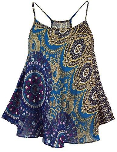 GURU-SHOP, Camiseta de Tirantes Boho, Camiseta Verano, Camiseta Mujer,