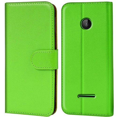 Verco Lumia 532 Hülle, Handyhülle für Microsoft Lumia 532 Tasche PU Leder Flip Case Brieftasche - Grün