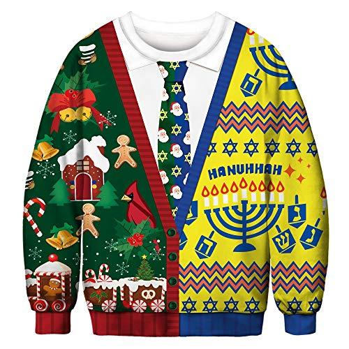 SEWORLD Heißer Paar tragen Einzigartiges Design Mode Damen Frohe Weihnachten Langarm Winter 3D Weihnachten Drucken Rundkragen Sweatshirt T-Shirt Bluse(Damen-Mehrfarbig,EU-46/CN-XL)