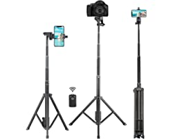 Selfie Stick Tripod, Eocean 54 inch Extendable Phone Tripod Stand,Universal Tripod with Wireless Remote,Portable Travel Camer