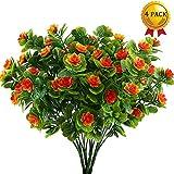 Nahuaa 4 Pcs Künstliche Blumen Frühling Dekor Narzissen Bündel gefälschte Blumen für Hochzeit Wohnung Büro Party