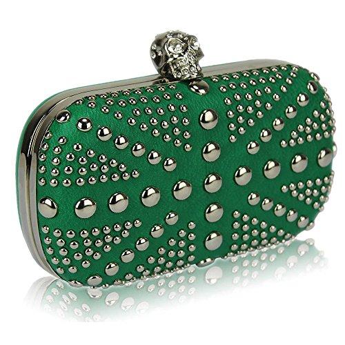TrendStar Damen Kupplungs Taschen Damen Beschlagene Kristall Abend Abschlussball Partei Taschen Grün