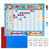 TOYMYTOY Reward Chore Chart Magnetic Reward Board- 24 Magnetic Chores, 200 Magnetic Stars & 2 Color Dry Erase Markers & Storage Bag- Responsibility and Behavior Chart Board