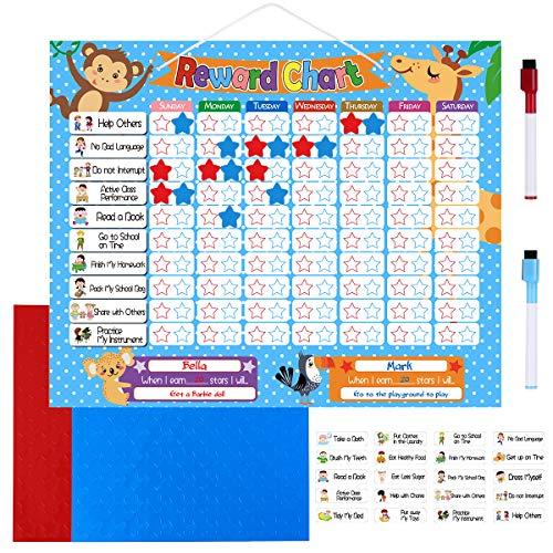 TOYMYTOY Tabla de Recompensas para Tareas Magnetic Reward Board: 24 tareas magnéticas, 200 Estrellas magnéticas y 2 rotuladores de borrado en seco de colores y bolsa de almacenamiento: Tablero gráfico de responsabilidad y comportamiento