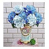 Amkun Künstliche Hortensie, Seide, als Bouquet, für Party, Hochzeit, Deko blau