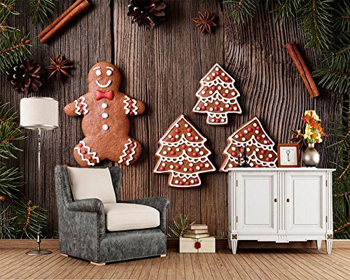 hristmas Cookies Wood Planks Food New Year 3D tapete,Living Room-350cmX245cm ()