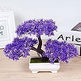 LOF-fei Künstliche Pflanzen Topfpflanzen Home Deko Esstisch Zubehör,Büro des lila Quadrat Keramik Blumentöpfe