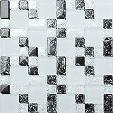 1QM mosaico (Cristal Piedras en tres tamaños en blanco y negro con gebrochener, claridad y cristal mate. mt0076M2