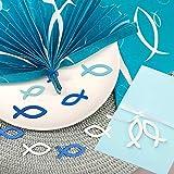LAKIND 54 Stück Holzfische Deko Streudeko Fische Taufe Deko Junge Holz Fisch Konfirmation Kommunion Dekoration Streuartikel Tischdeko (Blau & Weiß-54st) - 4