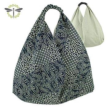 ORIGAMI-TASCHE Damen Shopper Einkaufstasche Schultertasche – japanischer Blaudruckstoff