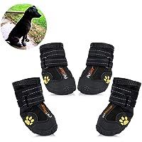 Petilleur Pfotenschutz für Hunde Hundeschuhe Wasserdicht und rutschfeste mit Reflektierender Riemen für Mittlere und…