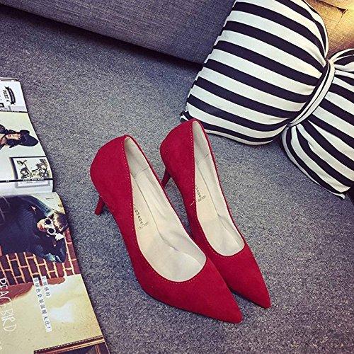 Fashion da donna, tacco a stiletto, tacchi alti, colore solido, semplice, sandali in camoscio a punta, scarpe comode Red