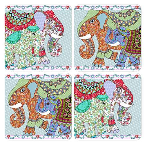 MOLLYMAC - Posavasos con diseño de elefante (revestimiento resistente al calor y...