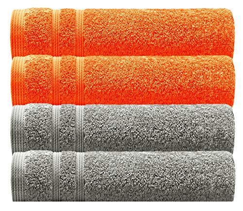 Lashuma Kuschelige Gästehandtücher im 4er Pack, 2X Handtücher Stein Grau und 2X Orange, Frotteetuch Größe: 30 x 50 cm