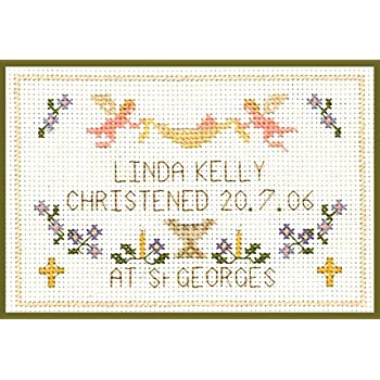 complete kit with COLOUR chart on 16 aida Blue Christening Cross stitch card