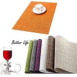 HaMeng Sets de Table Isolation en PVC antidérapant Tissage Sets de Table, Sets de Table Adiabatique Lavable Sets de Table? [Classe énergétique A + + +]