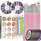 Nail Art Tools Fashion Designer, timbro, set di 15 pennelli per pittura unghie, 5 penne per intaglio/punteggiatura, lamina per unghie, nastro per manicure, strass colorati per unghie