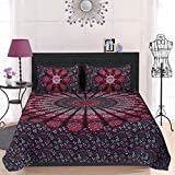 #9: PURE COMFORT Mandala Cotton Double Bedsheet with 2 Pillow Covers - Wine, king size