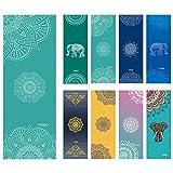 Ucooly Rutschfeste Yoga Handtuch,Matten Handtuch mit Smart Ecke Taschen und elastische Schlaufe,Microfaser Hot Yoga Handtuch für Bikram,Pilatus,Fitness 63 x 183 cm(Mandala-Teal)