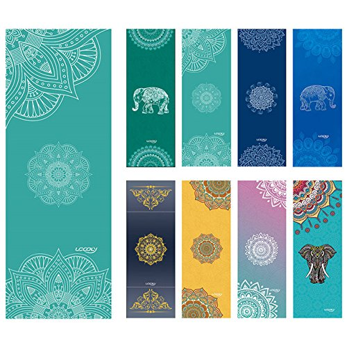 Ucooly Toalla de Yoga,Antideslizante Toalla con de Spray Gratuita Bottle,Caliente Toalla de Yoga con de Esquina Bolsillos,Perfecto para Fitness,Bikram,Ashtanga,Pilates183x63cm by (Mandala-Teal)