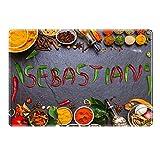 Tischset mit Namen ''Sebastian'' Motiv Chili - Tischunterlage, Platzset, Platzdeckchen, Platzunterlage, Namenstischset