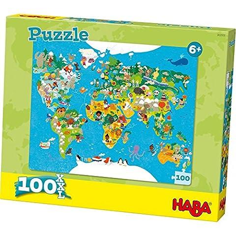 Puzzle carte du monde 100 pièces Haba
